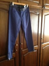 NEW JOSEPH LEATHER WAIST BELT CROP SKINNY ANKLE ZIP BLUE PANTS SZ 40 (12 UK)