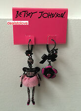 NWT Betsey Johnson Mismatch Black Skeleton crystals pink tutu flower Earrings