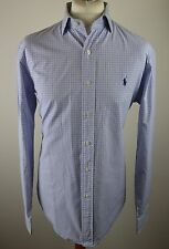 Premium men's Polo Ralph Lauren mid blue multi check cotton shirt XL 16/12 42