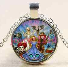 Alice in Wonderland Cabochon Tibetan silver Glass Chain Pendant Necklace #1811