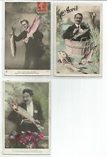 poisson d'Avril  3 cartes postales anciennes CPA /cp645