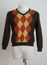 MENS WILLIAM HUNT SAVILE ROW JUMPER SWEATER 100 % WOOL BROWN ARGYLE M MEDIUM
