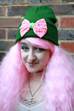 DIAMANTE BOW BEANIE HAT STREET WEAR KAWAII DECODEN PIXIE XMAS SANTAS HELPER