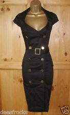 SIZE 8 40'S 50'S STYLE WIGGLE MILITARY GLAMOUR PIN-UP BLACK DRESS US 4 EU 36