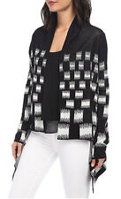 "$228 BCBG BLACK COMBO ""CAMIA"" PRINT OPEN FRONT CARDIGAN SWEATER TOP NWT XS/S"