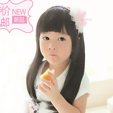 Fashion Black Long Straight Girls Baby Hair Child Princess Wig