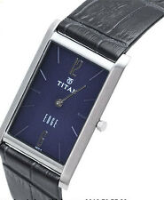 TITAN EDGE - 1043SL11 MENS FORMAL TRENDY LEATHER BELT BLUE DIAL WATCH BEST GIFT