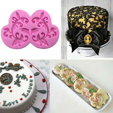 Lace Flower Silicone Fondant Cake Sugarcraft Baking Mould DIY Mold Pastry Pink