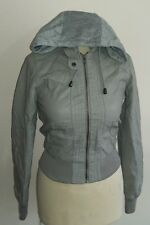 New look grey faux leather bomber jacket size 8