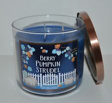 BATH & BODY WORKS BERRY PUMPKIN STRUDEL SCENTED CANDLE 3 WICK 14.5 OZ LARGE BLUE