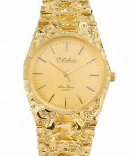 A31 New HOT Sharp Dufonte By Lucien Piccard Men's Gold Nugget Design Band Watch