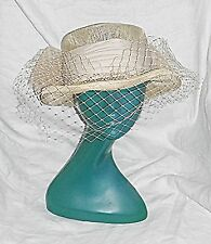 VINTAGE EDWARDIAN STYLE C & A STRAW NETTED VEIL SASH LARGE BOW ASSYMETRIC HAT
