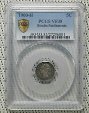 *PCGS VF35* 1900H - Straits Settlements - 5 Cent Victoria Silver #CBND