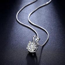 Diamant Rund Anhänger Halskette Geschenk 925 Sterling Silber Collier Damen Kette