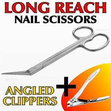 TOE NAIL Scissors + Clippers EXTRA LONG REACH Handle Pedicure Manicure Chiropody