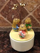 """Vintage Schmid Revolving Wooden Music box plays """"As the Saints Go Marching In"""""""