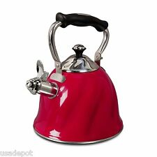 Mr Coffee Whislting Tea Kettle Hot Water Pot 2.3 Quart, Red
