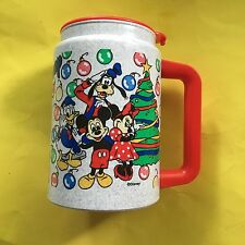 Disney World Seasons Greetings Plastic Whirley Mug Mickey Minnie Donald Goofy