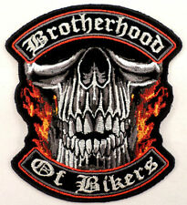 Xl Large Brotherhood Of Bikers Patch Skull Motorcycle Uniform Patch #12012