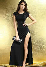 Long black Maxi party dress with Lace Back and Fishtail Evening Novelty women