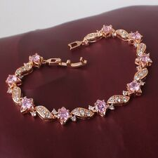 "Sweet design! 18k gold filled pink sapphire CUTE  LADY lovely bracelet 7""13.5g"