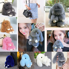 Gray Bunny Rex Rabbit Fur Handbag Keychain Pom Doll Ball Key Chain Ring Pendant