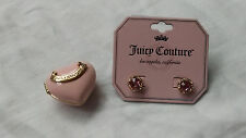 Juicy Couture Pink Heart Box with New Pink Rhinestone and Crystal Stud Earrings