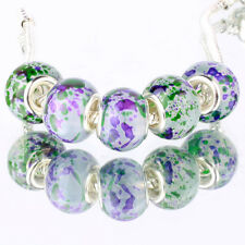 5pcs Green MURANO silver plated glass bead LAMPWORK For European Charm Bracelet