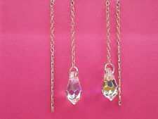 9ct Gold .375 Swarovski Elements AB Crystal Teardrop Pull through  Drop Earrings