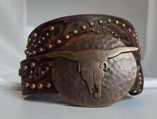 New Tony Lama Brown DESERT WIND Leather Tooled and Studded Belt Size 30  C50528