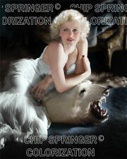 JEAN HARLOW ON A BEARSKIN RUG BEAUTIFUL SEXY COLOR PHOTO BY CHIP SPRINGER