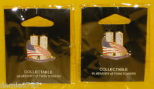 2 (Two) of 9/11 Sept.11 Dated Twin Towers American Flag Patriotic Lapel Pins NEW