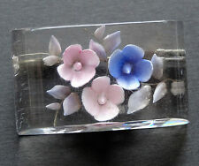 vintage reverse carved lucite 1950s trombone pin blue pink flower brooch -C271