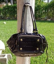 MARC by MARC JACOBS DARK BROWN PATENT LEATHER 2 ZIPPER TOP PURSE HANDBAG