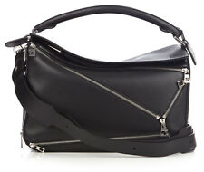 Loewe Puzzle Zips Black Leather Crossbody and Shoulder bag New
