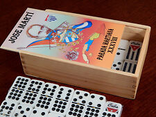 Cuban Flag Double Nine Dominoes Set (55-pc) in Collectible Jose Martí Wooden Box