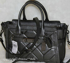 COACH 34547 Swagger 27 Carryall Satchel Leather Bag Handbag Purse Gunmetal $550