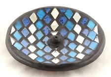 Mosaic Glass Blue Silver Round Ceramic Incense Burner NEW handmade black stick