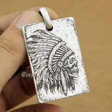925 Sterling Silver High Detail Deep Engraved Indian Chief Skull Dog Tag 9X002D
