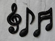 Music Note Ornaments Black Glitter Music Ornament