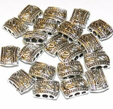 MB627f Antiqued Silver 12x9mm 3-Hole Rectangle Metal Spacer Bar Bead 20/pkg
