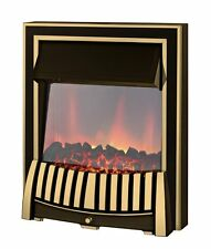 ELECTRIC 2KW BRASS BLACK SURROUND MODERN LED FLAME FIREPLACE INSET INSERT FIRE