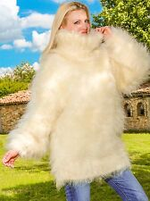 SUPERTANYA IVORY Hand Knitted Mohair Sweater Fuzzy Turtleneck Handmade Pullover
