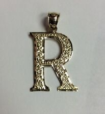 "10K REAL YELLOW GOLD Large Letter ""R"" Gold Design PENDANT 1.9g"