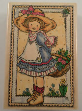 Penny Black Gift Of Flowers Girl With Basket Wooden Rubber Stamp In The Hand