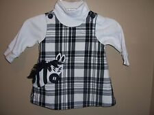 Kellys Kids Black White Plaid Zebra Jumper Dress Turtleneck Shirt Outfit 12 Mos