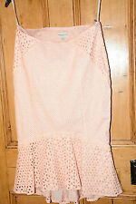 KAREN MILLEN rose/pêche broderie anglaise droite jupe taille uk 10