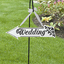 White Wooden Wedding Direction Arrow Sign Wedding Ceremony Reception Decor
