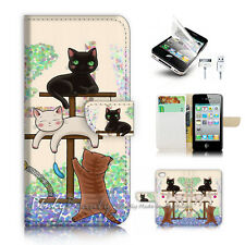 iPhone 4 4S Flip Wallet Case Cover! P1944 Cat