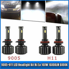 Combo H11 9005 LED Total 160W 16000LM High Low Beam Headlight Kit 6000K White